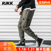 ins Tide brand overalls men cargo loose harem pants autumn and winter thick cashmere mens casual toe pants