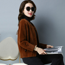 Late autumn Loose hundred autumn 2018 Korean version of the new autumn and winter short mink velvet sweater knitted cardigan coat female thick