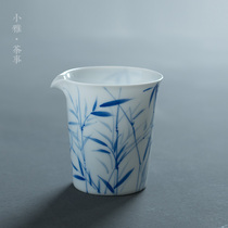 Xiaoya hand-painted bamboo fair cup Dehua white ceramic thin tire tea division qinghua porcelain household bamboo shadow tea sea.