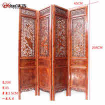 Dongyang wood carving fragrant camphor wood Chinese solid wood screen living room partition entrance door 4 hollow folding screen four seasons flowers and birds