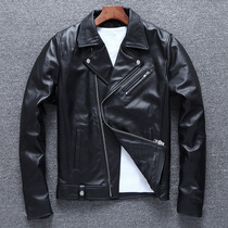 New leather leather mens first layer of leather short motorcycle jacket slim Harley youth jacket tide zipper