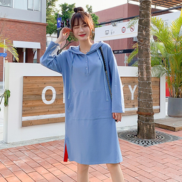 2020 new tide small fresh simple women's spring long hit-colored cotton hooded dress