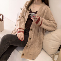 In the long section of the sweater womens autumn and Winter new womens Korean version of the solid color twist knit shirt jacket blouse outside the ride