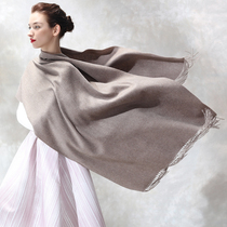 Qinqu 19 new autumn and winter pure cashmere scarf female shawl dual-use solid color with the wild thickening warm