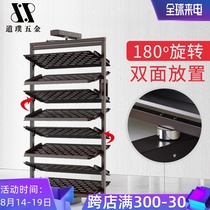 Rotating shoe rack 360 degrees household hardware accessories cloakroom pull basket flip shoe cabinet wardrobe push and pull flip