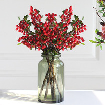 Red berries simulation flower rich fruit small wild fruit with leaves simulation tree branch Chinese flower single flower decorative flower fake flower.