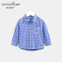 Qi bear Male and female baby dyed plaid shirt infant long sleeve shirt lapel spring trend lattice top