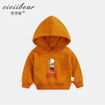 Qi Bear Boys and girls new cartoon print hooded clothes Infant baby spring cotton long sleeve top