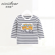 Qi Qi Bear baby long-sleeved striped T-shirt men and women baby spring coat three-dimensional cartoon car bottoming shirt