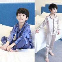 Spring and summer childrens simulation silk pajamas boys ice silk parent-child home clothes girls long-sleeve pajamas summer air-conditioning clothing.