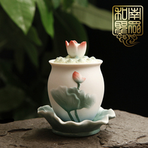 Chinese-style home Buddha Temple Gong Cup for the Buddhas Holy Water Glass Ceramic Guanyin Big Sad Water Painted Embossed Lotus Gong Cup
