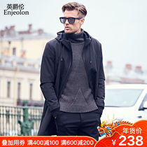 The long mens coat windbreaker in the mens fashion Boomers  hat jacket in the autumn and winter of the British Jue LUN