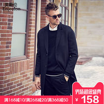 British mens casual wool coat suit collar British long section woolen winter coat Nizi windbreaker