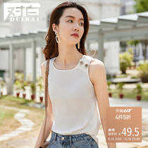 White simple round neck sleeveless chiffon shirt female 2019 summer new chic wood grain button decoration solid color shirt