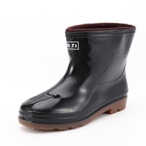 Pull back Rain Boots mens short tube boots mens low to help non-slip waterproof shoes rubber shoes kitchen shoes plus cashmere warm shoes