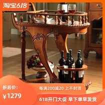 American solid wood mobile dining car family snack car retro restaurant wine small dining car hotel tea sailor cart