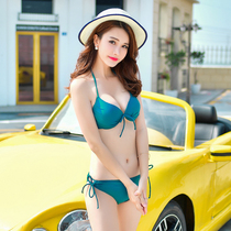 Split swimsuit female Solid Color Walk show test was thin sexy bikini two-piece swimsuit swimwear hot spring