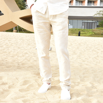 Summer linen mens loose-fitting small feet thin straight casual beach pants summer fashion breathable cotton long pants.