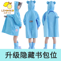 lemonkid new boys and girls poncho with a bag baby children students solid color children reflective raincoat