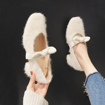 White plush shoes female autumn and winter wear net Red fashion 2019 new wild students eighteen year old thick with high heels