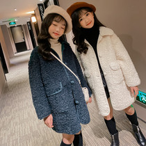 Girls Lamb cashmere coat Korean parent-child yangqi Network red autumn and winter in the Big child fashion in the long section of plush coat