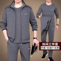 Middle-aged sports suit male spring and autumn dad casual suit autumn large size mens sportswear three-piece cotton