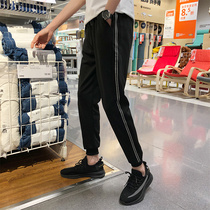 2019 summer thin section casual pants male feet pants sweat pants black pants male Korean version of the trend of nine beam feet pants