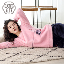 Duo Ting sports pajamas winter coral velvet long-sleeved thick flannel home service female autumn and winter home service suits