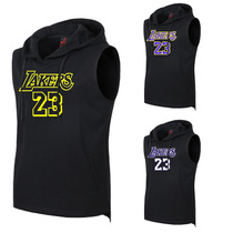 Nouveau Lakers manches courtes hoodie tête de chapiteau T-shirt costume formation James Sleeveless Sports veste à capuchon