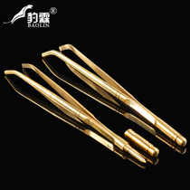 Leopard Lin metal thickened stainless steel tea clip bamboo wooden tweezers tea chopsticks large tea cup clip Kung Fu Tea