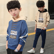 Boys long-sleeved sweater 2019 new boy spring and autumn models 8 large children hooded T-shirt casual shirt T-shirt tide