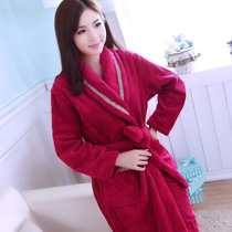 Robe bathrobe couple thickened Faye velvet home service pajamas men and women coral velvet autumn and winter bathrobe plus long section