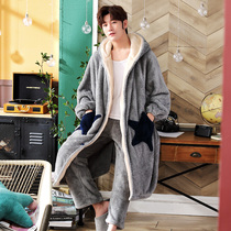 Nightgown male Winter plus cashmere thick long paragraph coral velvet pajamas stars warm autumn and winter paragraph flannel bathrobe set