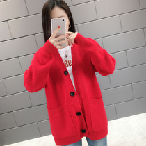 Early spring fairy cardigan sweater female 2019 new womens spring Foreign knit jacket female spring and autumn short tide