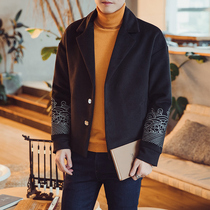 Ni coat ni woolen short woolen coat men medium and long embroidery windbreaker male handsome tide brand Chinese style