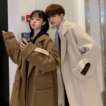 Winter couple in the long section of woolen coat mens Korean version of the new Hong Kong style coat student wild coat