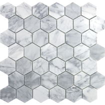 Nordic hexagonal Kalala White fossil material mosaic tile background wall Nordic bathroom restaurant small pieces