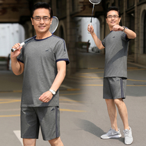 Sports suit male Summer middle-aged short-sleeved shorts two-piece loose casual summer father clothes father summer dress