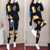 Autumn and winter sports suit female 2019 new Korean loose personality fashion temperament casual sweater two-piece tide
