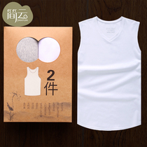 2-Piece mens vest cotton summer tight-fitting fitness sports youth breathable wide shoulder sleeveless waist white