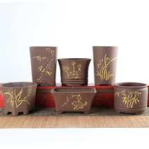 Lobular Rosewood special flower pots purple sand coarse pottery vintage burning home creative relief long six four square bonsai