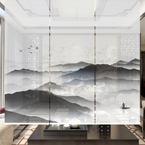 Kamuang new Chinese ink classical River scenery yarn through the curtain partition screen Chinese painting office shutter