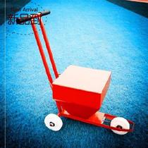 Sports ground football c field with wheels. Hand push straight single school playground parking space simple road construction line car.