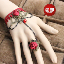 Lingerie accessories European Court retro red Lace bracelet women with ring sexy hand AL19
