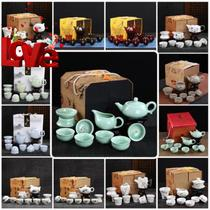 Qinghua tea set a set of household full kung fu tea set ceramic modern simple teapot.