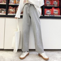 Loose lazy wild straight wide leg casual trousers womens Korean version of the spring students wild elastic waist sweat pants