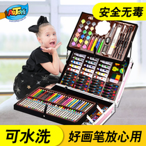 Childrens brush gift box painting tools pupils watercolor pen painting set art learning supplies kindergarten female