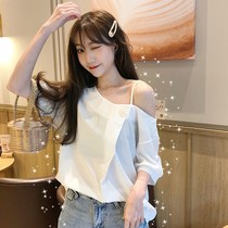 Summer womens 2019 new Korean version of the loose shoulder strapless shirt design Chemise Chemise tide
