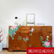 One fragrant tree new Chinese camphor wood hand-painted Hall cabinet solid wood entrance shoe cabinet partition dining cabinet full capacity