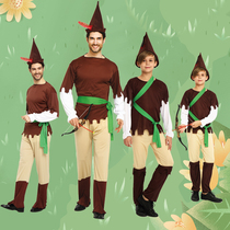 Childrens day parent-child pretending to be male cosplay green elf Peter Pan clothes children Robin Hood Hunter Costume